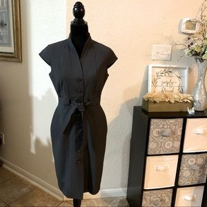 Calvin Klein dark grey suit dress tie at waist
